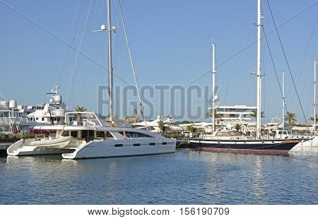Moored yachts in the marina at Valencia Spain