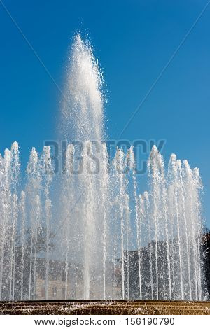 Detail of the fountain in front of the Sforza Castle (Piazza Castello - Castle square) in Milan (Milano) Lombardy Italy