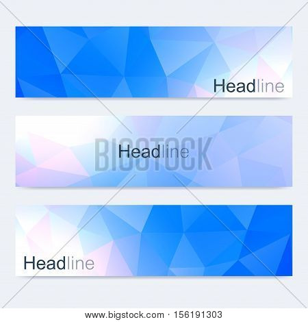 Scientific set of modern vector banners. Colorful polygonal background. Modern stylish triangle backdrop. Medical, tecnology, chemistry design