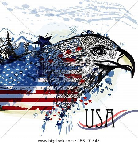 Hand drawn eagle with American flag. Symbol of USA