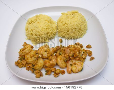 Shrimp with peanuts and rice, Indonesian cuisine