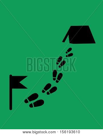 The way to the camp. Footstep with flag and tent. Flat style