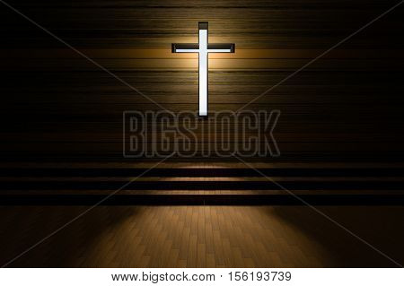 Cross With Light Shafts. Faith Symbol.abstract Light Of Cross Religion Symbol.cross At The Church