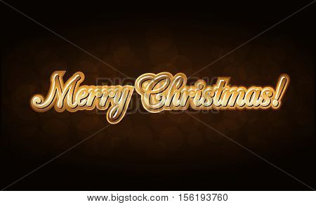 Merry Christmas gold text. Holiday background. Golden type decorative design for card banner greeting vintage decoration. Symbol of Happy New Year celebration holiday. Vector illustration