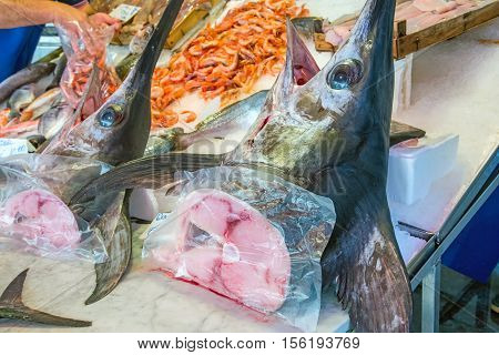 Fresh Swordfish for sale at a market in Palermo, Sicily