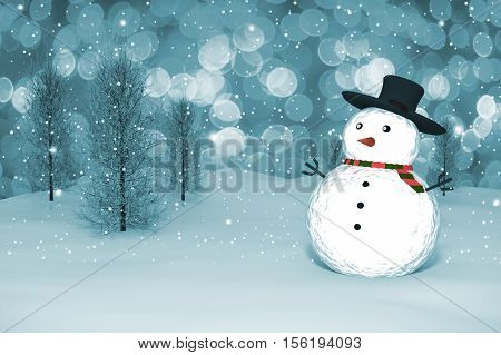 3D Rendering :  Merry Christmas Snow Man Doll On Perspective Snowscape Sparkling Bokeh Wall Light An