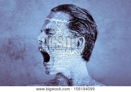 Creative Background Of Teen Boy Screaming
