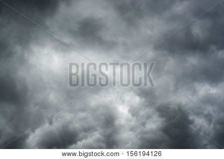 Heavy dark clouds before storm background gray