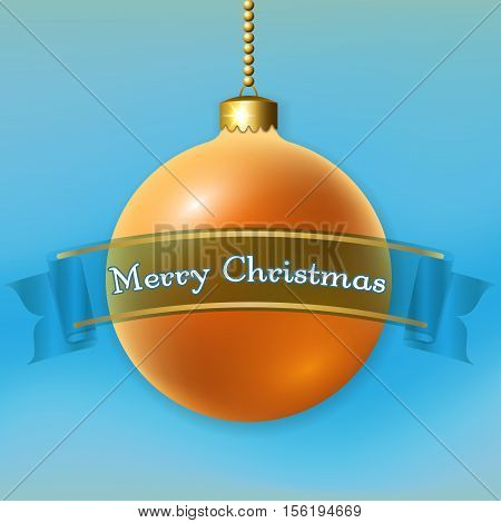 Merry Christmas 3D bauble decoration with text ribbon. Gold ball isolated on light-blue background. Bright golden design holiday banner. Xmas Happy New Year celebration. Vector illustration
