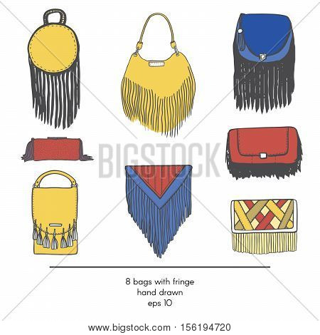 Stylish collection of 9 fashion vector bags with fringe isolated on white background. Color illustration in red yellow and blue. Hand drawn fashion trend glamour set kit in vogue style.