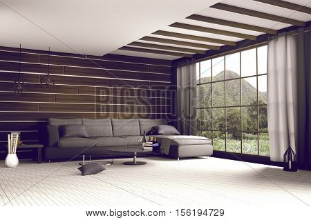 3D Rendering : Illustration Of Comfortable Contemporary Interior With View Of Green Mountain And Gre