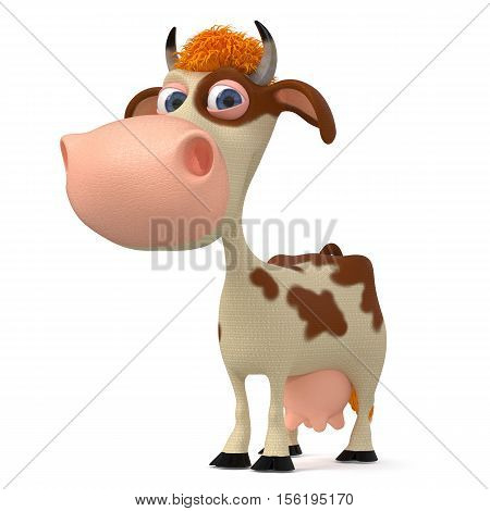 3d illustration the farmer animal costs and looks