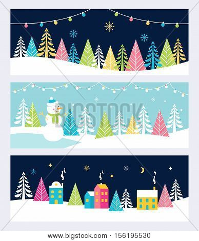 Christmas and Winter Holidays Events Festive Backgrounds, Banners or Headers with Landscape, Snowman, Trees and Christmas Lights. Vector Design