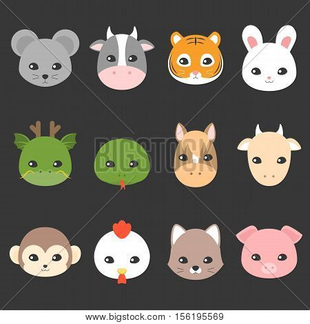 Cute cartoon Chinese zodiac icon, face of rat, cow, tiger, rabbit, dragon, snake, horse, goat, monkey, rooster, dog, pig, flat design character