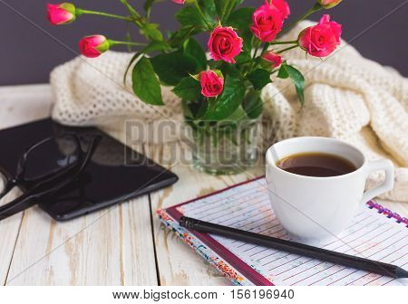 Warm Knitted Plaid, Glasses, Coffee, Notebook, Pensil And Tablet