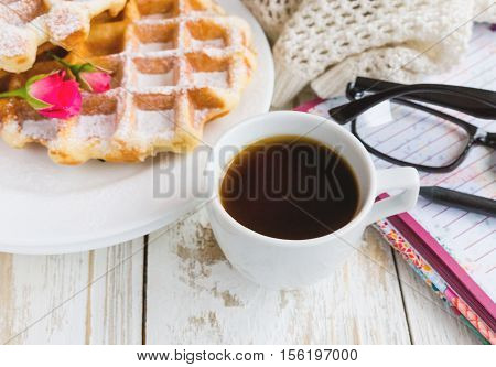 Warm Knitted Plaid, Coffee, Notebook And Belgium Waffles