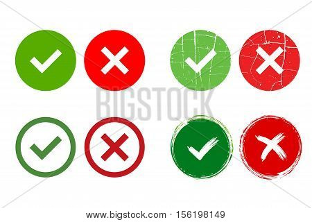 Tick and cross signs. Green checkmark OK and red X icons isolated on white background. Grunge marks graphic design. Circle symbols YES and NO button for vote decision web. Vector illustration