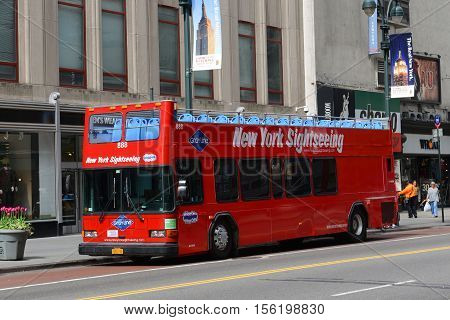 NEW YORK CITY - MAY 6, 2013: Grey Line tour bus in Times Square in New York City, USA.
