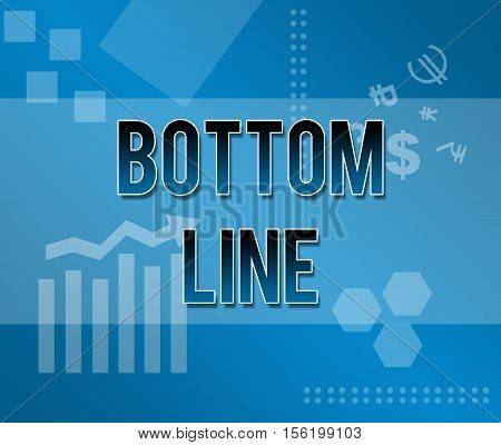 Bottom line written over abstract blue background.