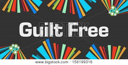 Guilt free text written over dark colorful background.