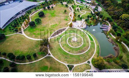 Butler Park seen from above Aerial View Austin Texas USA Parks and Recreation Modern circles and Modern Architecture Green Space in Central Texas Hill Country