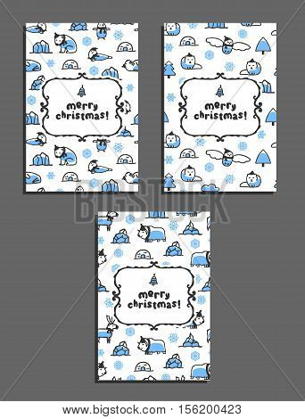 Set of merry christmas vector greeting card templates with arctic animals. Childish illustrations of polar bear, reindeer, arctic fox, walrus, seal, owl, penguin and musk-ox. Animals wear scarves and hats