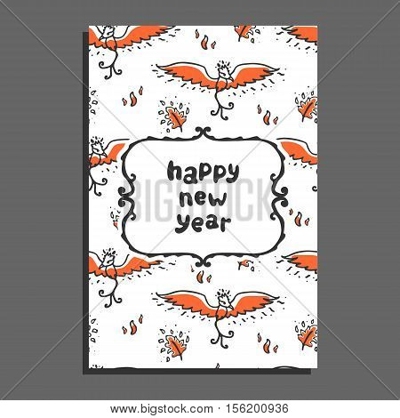 Happy new year greeting card with phoenix and flames. Cute cartoon vector childish pattern on white background