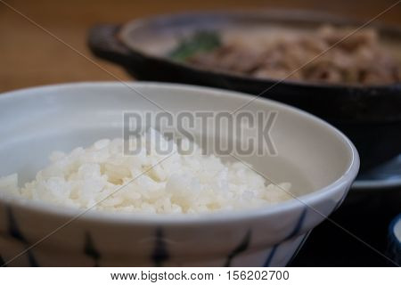 Bowl Of Rice In Kritanpo Nabe Set With Pork Hotpot