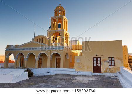 OIA, GREECE - NOVEMBER 05, 2016: Church in Oia village on Santorini island in Greece on November 05, 2016.