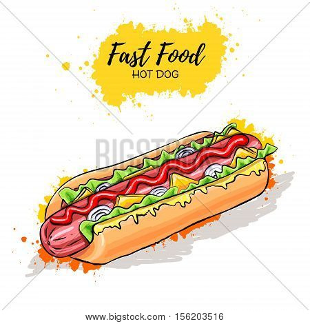 Hand drawn Hot Dog. Fast Food sketch