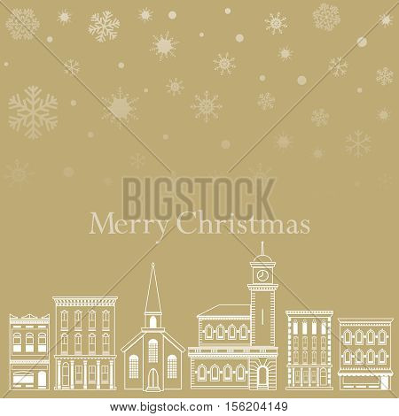 Festive Christmas background with a town and snowflakes