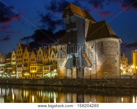 The riverside with characteristic Crane of Gdansk Poland.