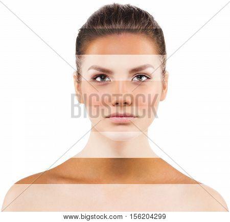 Portrait Woman With  Different  Skin Tone Colors. Studio Shot.