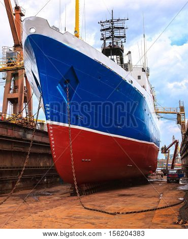 Big ship to dock at the shipyard.
