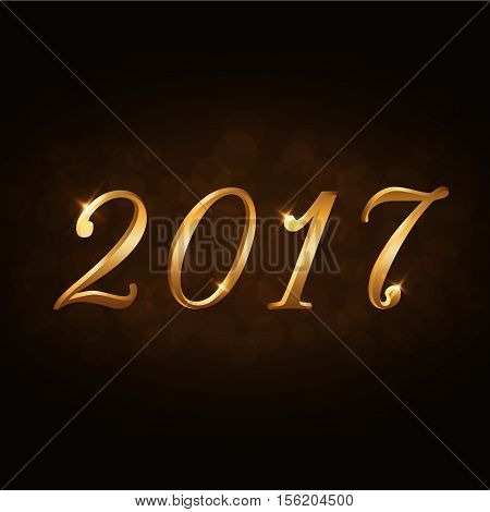 Happy New Year background. Gold numbers 2017 card. Christmas design with light vibrant glow and sparkle glitter. Symbol of holiday celebration. Luxury golden texture. Vector illustration