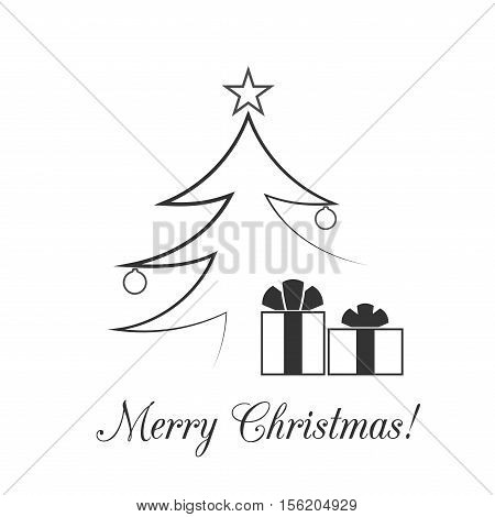 Christmas tree card. Balls star gift. Cartoon icon. Black silhouette decoration sign isolated on white background. Flat design. Symbol holiday Christmas New Year celebration Vector illustration