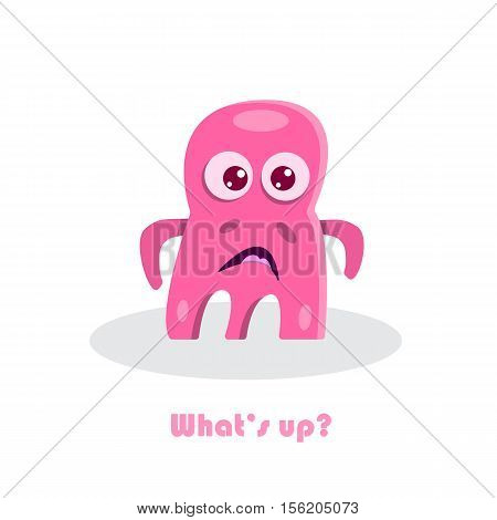 Whats up? text with funny monster. Scared comic funny pink cartoon beast. Cute kid drawing. Humor vector illustration.