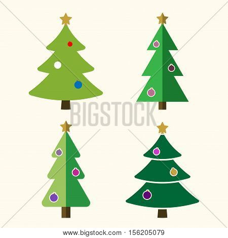Christmas tree with balls cartoon icons set. Green silhouette decoration trees signs isolated on white background. Flat design. Symbol of holiday Christmas celebration New Year Vector illustration