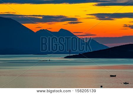 Amazing beautiful sunset with sea and mountain. Neum Bosnia and Herzegovina.