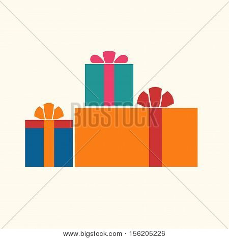 Christmas gifts ribbons icons set. Giftbox color signs decoration isolated on white background. Flat design. Symbol of New Year celebration presents surprise Xmas holiday. Vector illustration