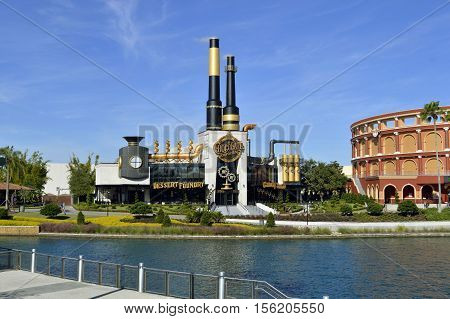 Universal Studios Resort Orlando Florida USA - October 24 2016: Charlie's Chocolate Emporium in the Universal Orlando Resort adventure theme park