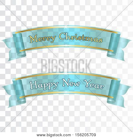 Merry Christmas Happy New Year banners. Blue and gold ribbons with text isolated on background. Golden design. Decoration template card greeting invitation. Symbol of holiday Vector illustration