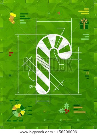 Christmas candy cane symbol as technical blueprint drawing. Drafting of candy stick on crumpled paper. Vector image for christmas new years day engineering winter holiday design new years eve