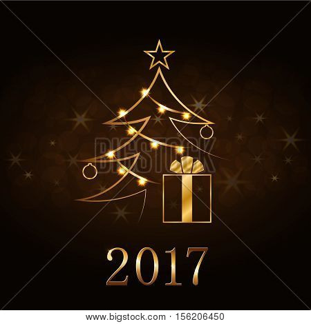 Happy New Year and Merry Christmas celebration background gold Xmas tree. Decorative golden gift box numbers 2017 balls star. Sketch card greeting. Light holiday decoration Vector illustration