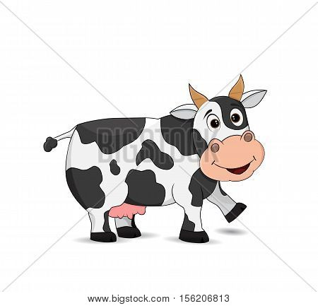 happy cartoon cow, smile and standing on white background