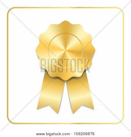 Award ribbon gold icon. Blank medal isolated on white background. Stamp rosette design trophy. Golden emblem. Symbol of winner celebration sport achievement champion. Vector illustration