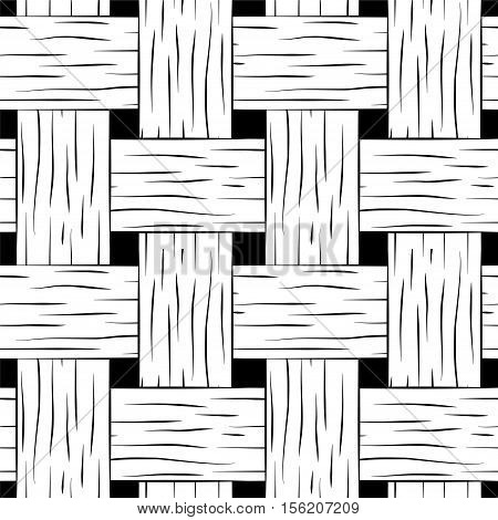 Braided seamless pattern. Wooden braided vector texture. Hand-drawn seamless pattern swatch of bark basket. Monochrome braided pattern. Black and white woven texture square image for background