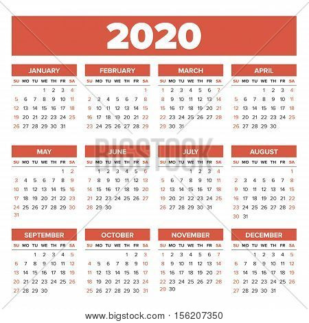 Simple 2020 year calendar, week starts on Sunday
