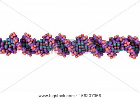 Double helix of DNA isolated on white background. Science background. 3D illustration
