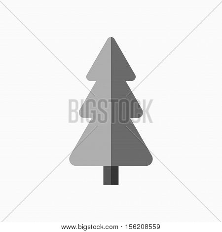 Christmas tree sign. Simple cartoon icon. Gray silhouette isolated on white background. Flat design. Symbol of holiday winter Christmas New Year celebration. Vector illustration